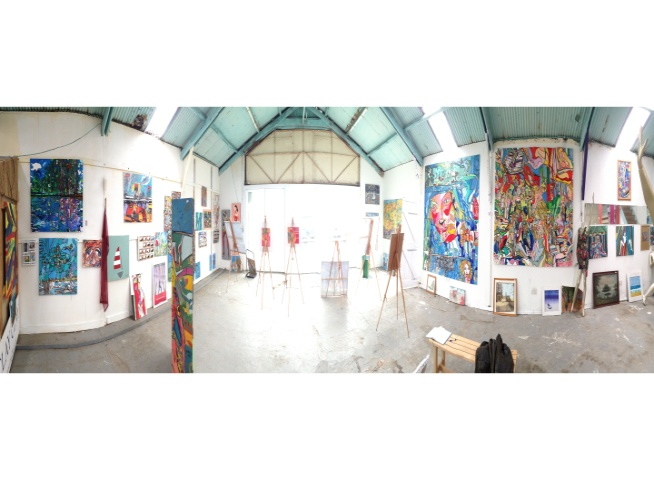 Panorama Big Art All Summer Exhbition is at Wight Marine, Embankment Rd, Bembridge, Isle of Wight. PO35 Picture taken 2oth June 2015. Gallery is forever being altered throughout the summer with new artworks, an ArtCar and new artists ,