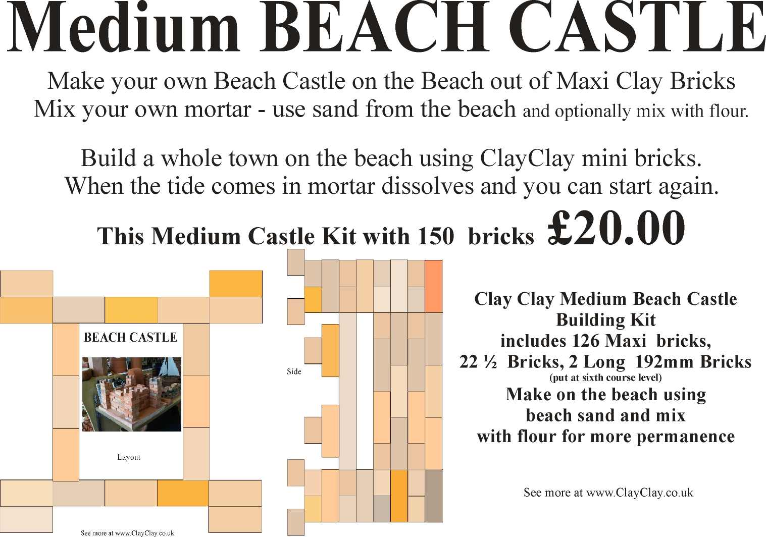 Medium Beach Castle Kit Maxi Bricks. Make own the beach castle and use Beach sand mixed with flour as mortar.