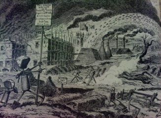 Cartoon on Jerry Builders by George Cruickshank 1829 showing farm land of Hampstead being pelted by bricks from the clamp kilns with their smoke and debris dirtying the fam land