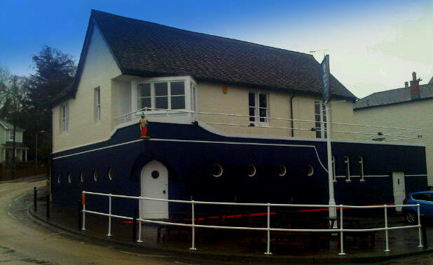The Pilot Boat Inn, Bembridge Isle of Wight. The only pub on Bembridge Harbour. Looks like an Ocean liner and is as friendly as one too!