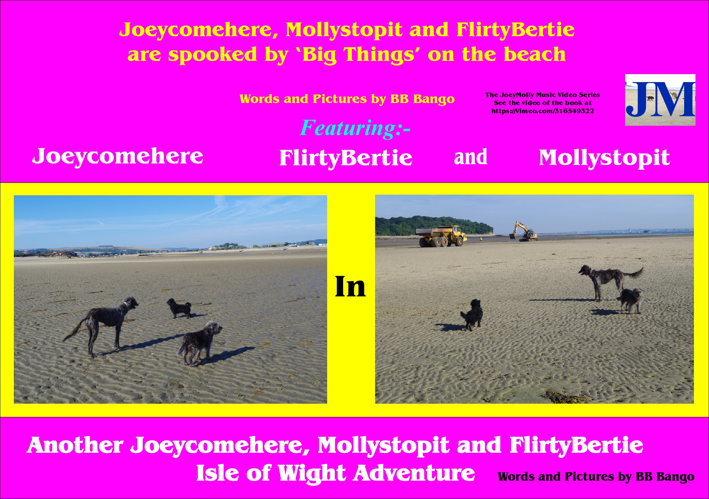 Now available on Kindle. Joeycomehere, Mollystopit and now FlirtyBertie get spookend by big things on the beach. Part of a series of Wight Adventures written by BB Bango and published by ClayClay. Copies of book in  A5 format available direct from the ClayClay Shop  This 4th book  is also a music video on vimeo.com. see link on front cover of book