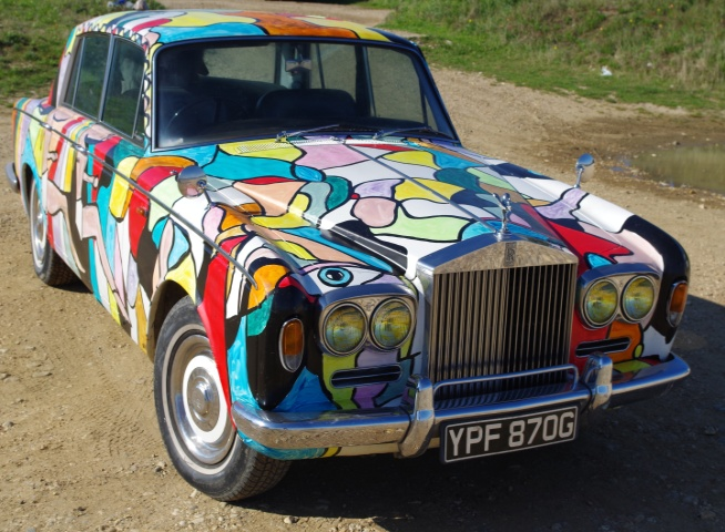 Art Car Rolls-Royce Silver Shadow 1969. Painting by BB Bango