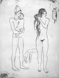 'Late Strike' etching by Pablo Picasso 'La Toilette de la Mere' Original plate this was printed from was engraved by Pablo Picasso himself between 1905 and 1913. On display in the Bembridge shop.  Price £500. Not expensive for a genuine picasso.