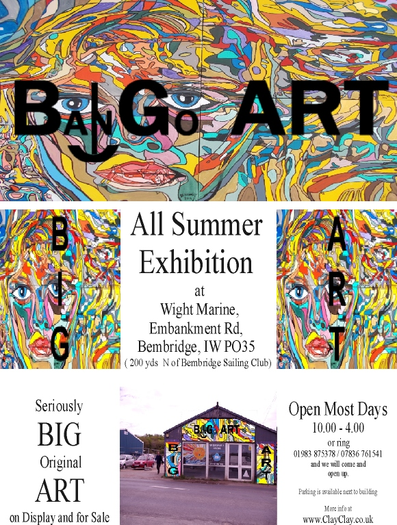Big Art All Summer 2016 Exhbition Now Organised by Artist Holly Maslen with 23 Artists displaying. At South End, Emabankment Rd, Bembridge Harbour, Isle of Wight PO35