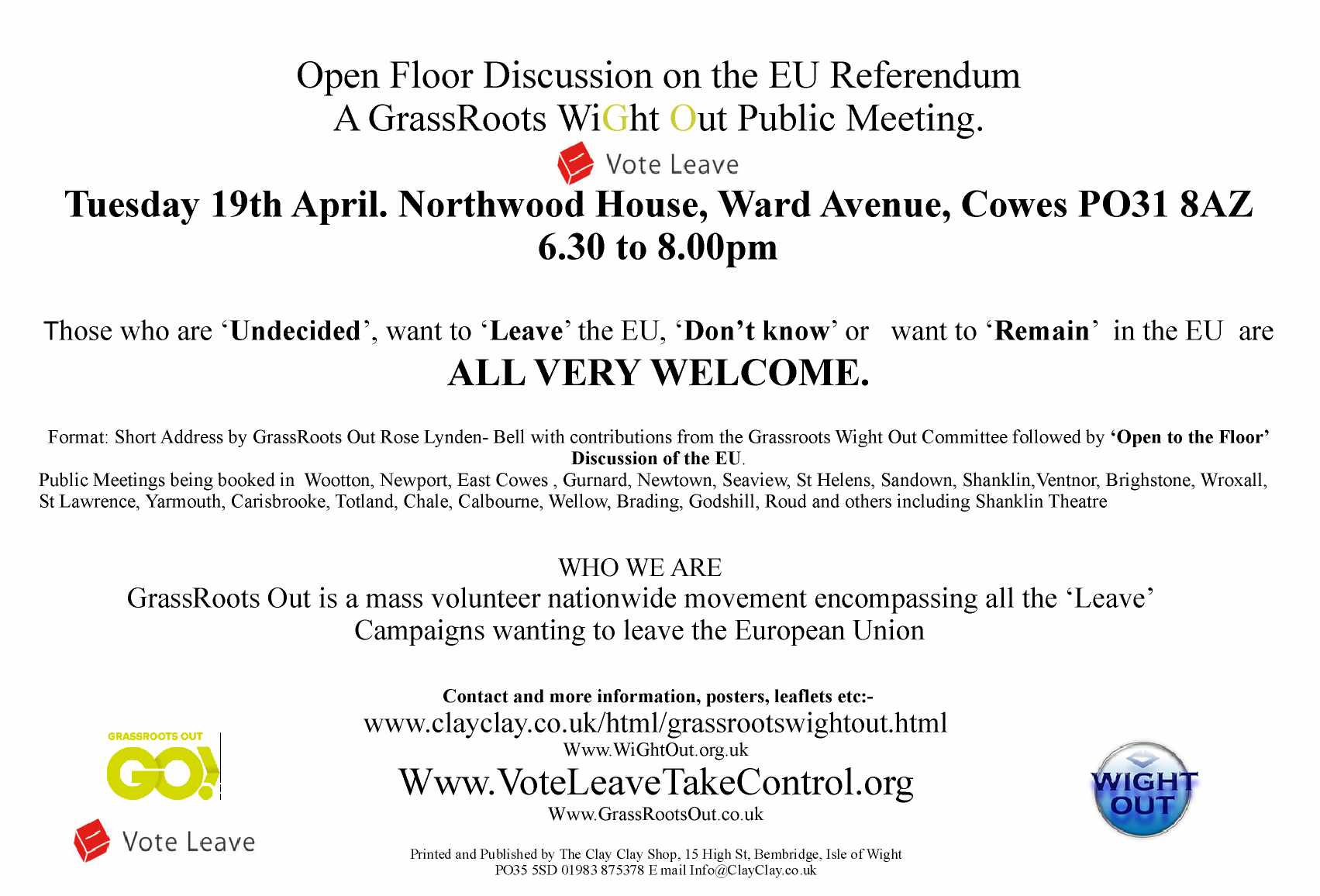 Invitation to Northwood House 19th April Public Meeting