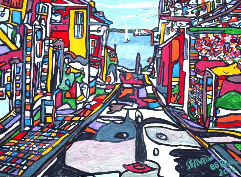 Seaview by BB Bango in acylic on canvas 24 by 18 inches £150