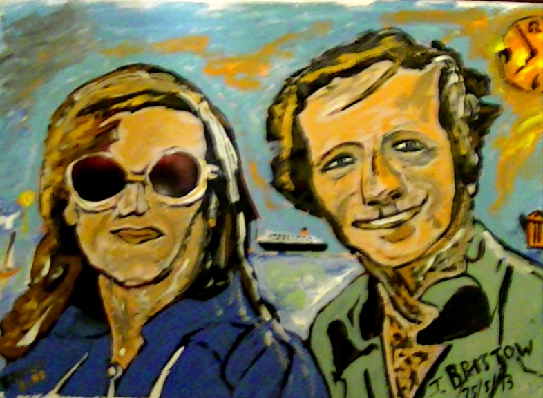 Pop Art Commission like this one of a 'Couple in Isle of Wight' (photo taken 1972) showing original photo and finished Pop Art Caricature.