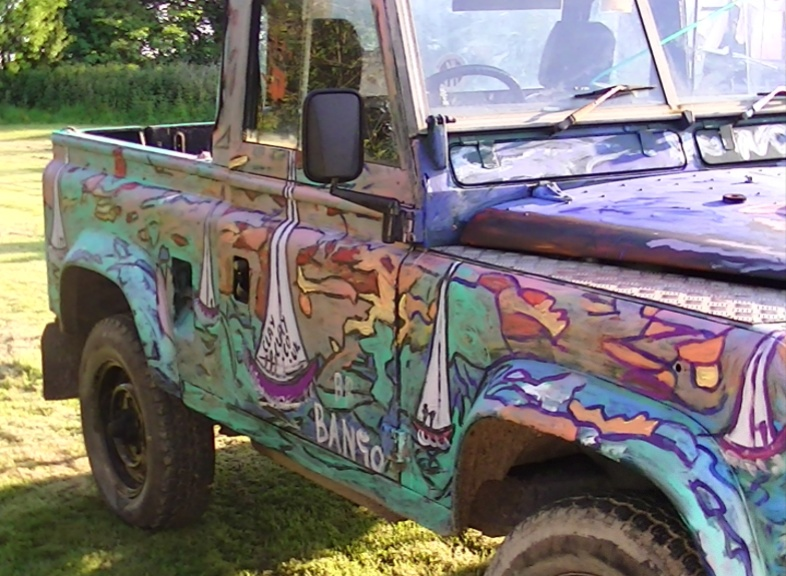 'Art on Landrover RH' by BB Bango. Sometimes on display ourside Bembridge shop.  £2,500 Free Landrover 2.5 Diesel 1969 Mot August 2013.