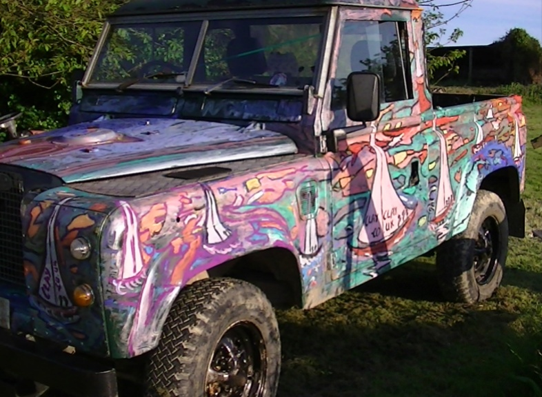 'Art on Landrover LH' by BB Bango. Sometimes on display ourside Bembridge shop.  £2,500 Free Landrover 2.5 Diesel 1969 Mot August 2013.