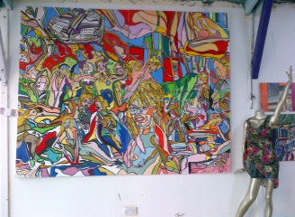 'The Party'  Painting by BB Bango in acrylic on canvas 8ft by 6ft on four canvasses £1,250.
