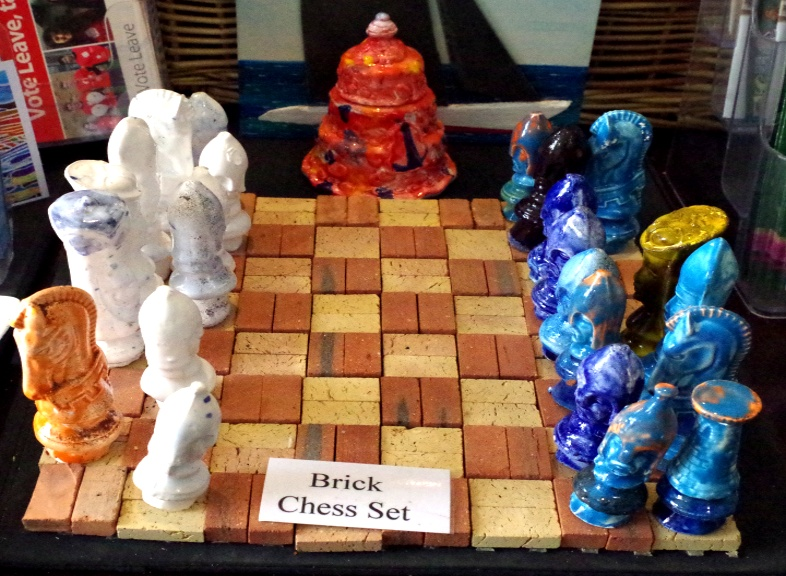 Glazed Chess pieces slip cast pottery by BB Bango.