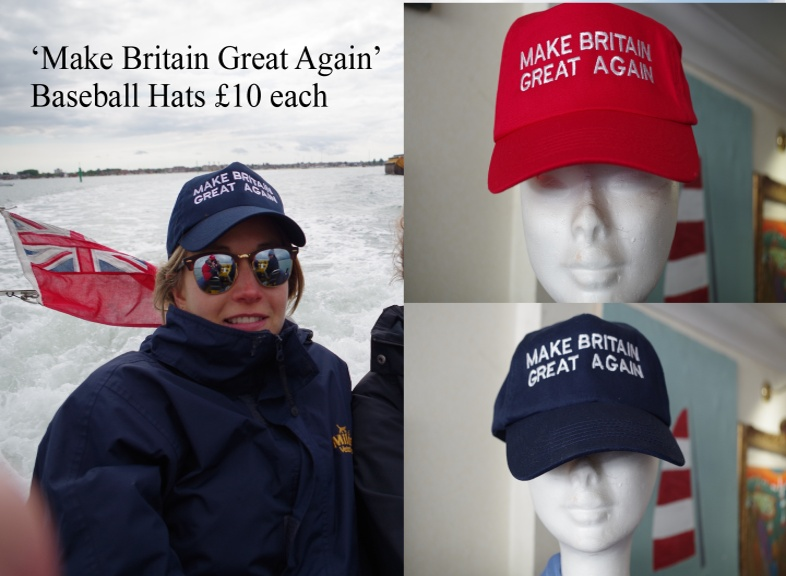 'Make Britain Great Again' Baseball hats in red and blue £10 each