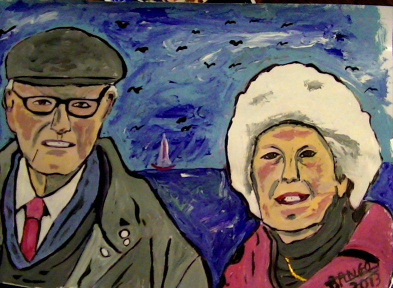 Pop Art Commission like this one of a 'Couple in Oxfordshire' showing original photo and finished Pop Art Caricature.