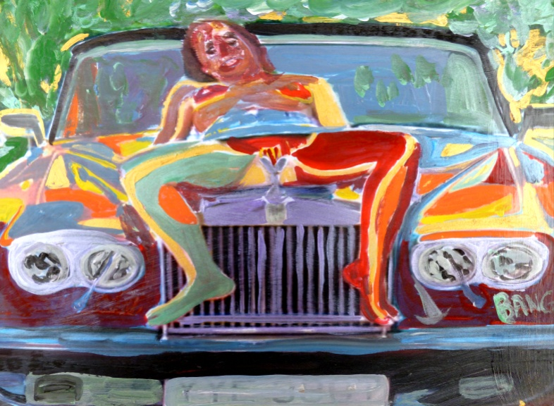 'Nude on Rolls 2' by  BB Bango. One of a selection of A4 sized acrylic on paper and framed original photo based paintings.  Also postcards available. This picture was painted September 1st 2013 .
