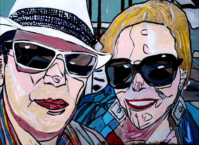 James and Georgie acrylic on canvas 900*600mm from £150. Turnaround 2 weeks from receiving photograph.  E mail us a photo and BB Bango will do an Original Pop Art (Black lines, loads of colours as per 60s Dada  artwork) caricature of you - your face, your body