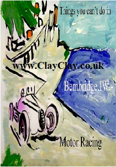 'Motor Racing' 'Things you can't and can do in Bembridge IW' Postcard based on original painting by BB Bango