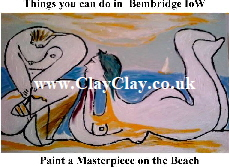 'Paint a Masterpiece' 'Things you can't and can do in Bembridge IW' Postcard based on original painting by BB Bango