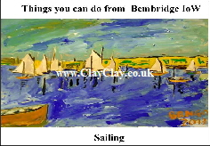 'Sailing' 'Things you can't and can do in  Bembridge' Postcard based on original painting by BB Bango