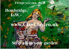 'Strip off in your Garden' 'Things you can't and can do in Bembridge IW' Postcard based on original painting by BB Bango