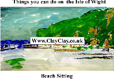 'Beach sitting' 'Things you can't and can do in  IW' Postcard based on original painting by BB Bango