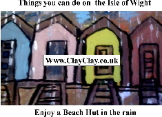 'Enjoy a Beach Hut in the rain' 'Things you can't and can do in IW' Postcard based on original painting by BB Bango