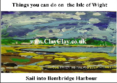 'SAil into Harbour 'Things you can't and can do in  IW' Postcard based on original painting by BB Bango