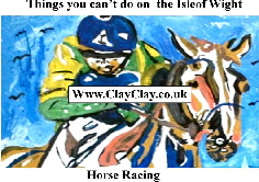 'Horse Racing' 'Things you can't and can do in  IW' Postcard based on original painting by BB Bango