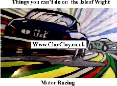 'Motor Racing 2' 'Things you can't and can do in  IW' Postcard based on original painting by BB Bango