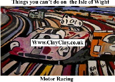 'Motor Racing 3' 'Things you can't and can do in  IW' Postcard based on original painting by BB Bango