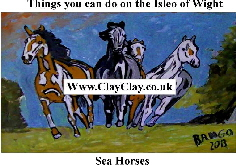 'Sea Horses' 'Things you can't and can do in  IW' Postcard based on original painting by BB Bango