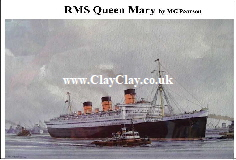 'RMS Queen Mary' Postcard Based on original watercolour by M Pearson . Original painting on display in ClayClay Shop