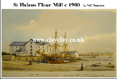 'St Helens Mill' Postcard Based on original watercolour by M Pearson . Original painting on display in ClayClay Shop
