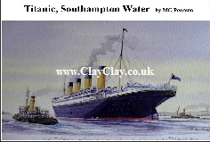 'Titanic leaving Southampton' Postcard Based on original watercolour by M Pearson . Original painting on display in ClayClay Shop
