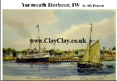 'Yarmouth Harbour' Postcard Based on original watercolour by M Pearson . Original painting on display in ClayClay Shop