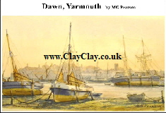'Yarmouth Dawn' Postcard Based on original watercolour by M Pearson . Original painting on display in ClayClay Shop
