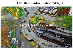 'Old Bembridge 4, Isle of Wight circa 1933 from the air. Postcard based on original BB Bango painting