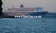 'Queen Mary 2 off St Helens'. Postcard based on original Bango Photograph.