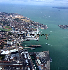 'Aerial Portsmouth 2014'. Postcard based on original Bango Photograph and paintings of figures