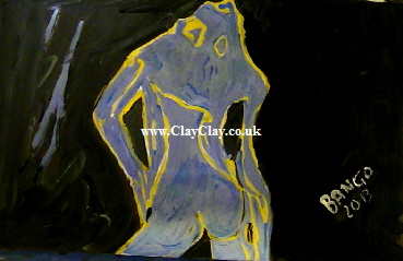 'Blue Gold Nude' by BB Bango. One of a selection of A4 sized acrylic on paper and framed original photo based paintings.  Also postcards available. This picture was painted July 28th 2013 .
