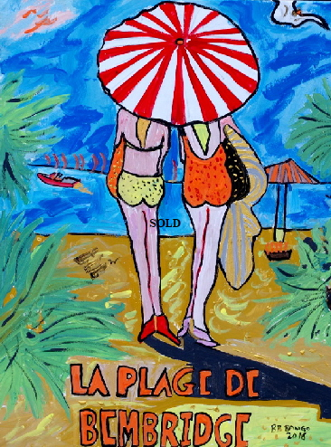 'La Plage de Bembridge' 20 by  30 inches by BB Bango. March 20th 2016 Acrylic on canvas.  £100
