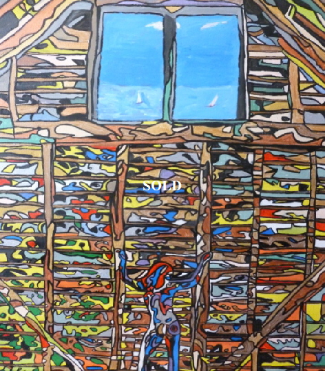 'Dutch Barn 1' by  BB Bango. One of a series of large canvases depicting Barns with many hidden images. Acrylic on canvas.  900 by 1200mm. Also postcards available. This picture was painted in November  2013 ). £950 This picture was shortlisted for the Royal Academy Summer Exhibition 2014. Now at 'Not the Royal Academy Exhibition in Waterloo www.LlewellynAlexander.com