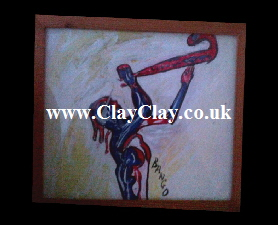 'Abstract Saxo' by BB Bango. Acrylic on Paper.  Framed, glass 29*20cm £25. On display Bembridge shop. Also postcards available. This picture painted 20th April 2013 is based on an 'EspadaRolls' Glamour model photo shoot for the 'Tacky..... Original Music' music videos.
