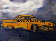 'Dream Car 2' by BB Bango to use in new Saucy Postcards acrylic A4 size on paper £40. On display Bembridge Shop