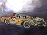'Dream Car 3' by BB Bango to use in new Saucy Postcards acrylic A4 size on paper £40. On display Bembridge Shop