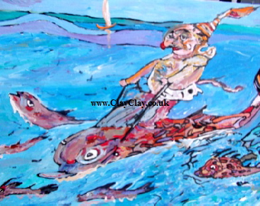 "'Fish Riding'  by  BB Bango Acrylic 24*18""  on canvas board £75. On display Bembridge Shop"