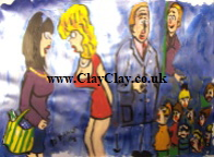 'Saucy Figures 8' by BB Bango to use in new Saucy Postcards acrylic A4 size on paper £40. On display Bembridge Shop
