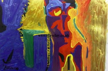 'Colourful Nude' by BB Bango. One of a selection of A4 sized acrylic on paper and framed original photo based paintings.  Sold Also postcards available. This picture was painted July 26th 2013 .
