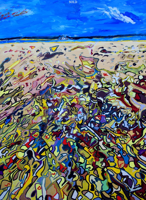 "'Bembridge Beach to St Helens Fort'    Painting by BB Bango in acrylic 50"" by 40"" Sold"