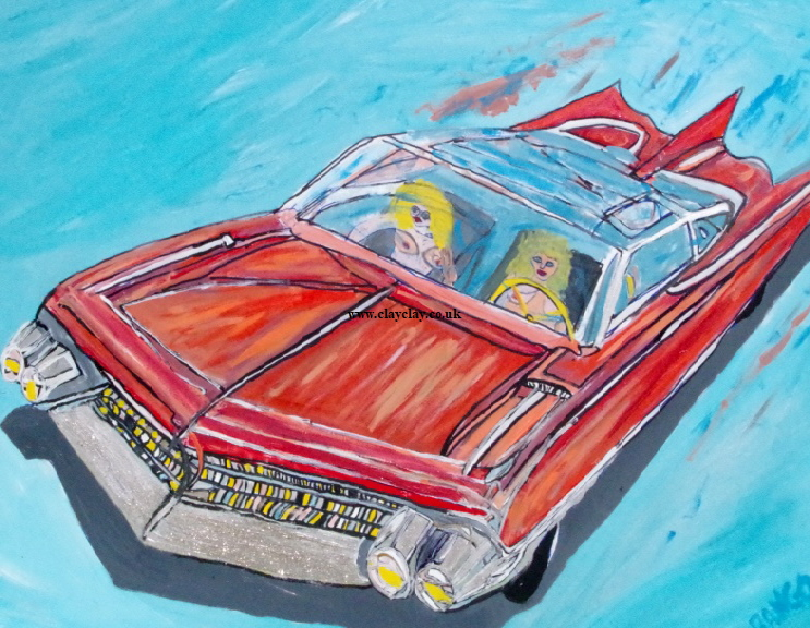 "'Topless Dream Car'    Painting by BB Bango in acrylic 50"" by 40"" £250"