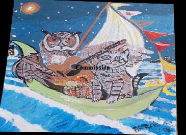 "'Owl and the Pussycat'   Painting by BB Bango in acrylic 20"" by 16"" Commission, now in Thailand"